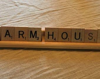 Scrabble Sign Rustic Farmhouse Home Decor