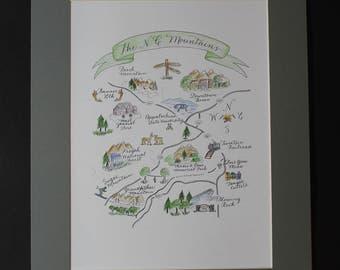 The North Carolina Mountains handmade matted map