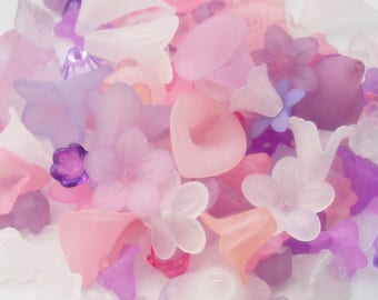 Lucite Acrylic Flower Beads, Variety Mix, Blooming Hues, 50g