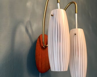 Mid century wall lamps | set of 2 | opaline glass · teakwood. brass |