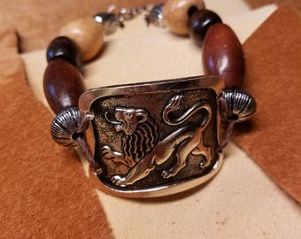 Silver and wood lion bracelet
