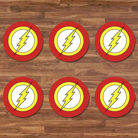The Flash Cupcake Toppers - Flash Stickers - Red & Yellow Logo - Flash Birthday - Flash Printables - Flash 2 inch Round Stickers - Superhero