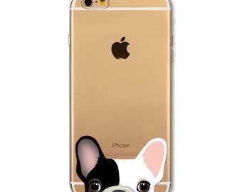 Bulldog iPhone 6 6S 6+ Plus Case French Bulldog Clear Soft Transparent Black White Fawn Tan Peeking Frenchie Dog Phone Case