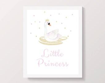 Swan Princess, Pink and Gold Nursery Printable Wall Art, Swan Nursery Print