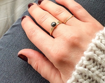 Haematite ring | 14k gold filled