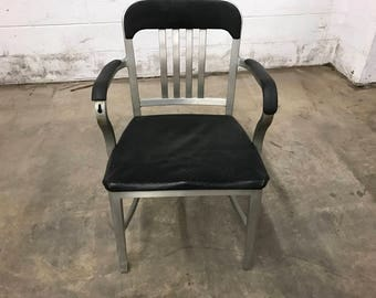 Vintage 1960's Black Plastic and  Metal Office Chair