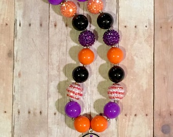 20mm Bubblegum Beaded Necklace Halloween Trick or Treat Bucket Candy Black Orange Purple