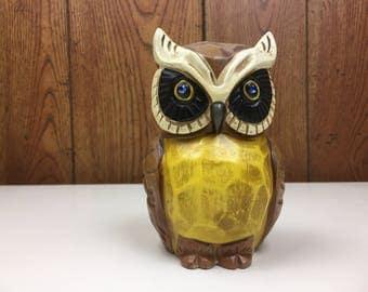 Vintage Owl Bank Rhinestone Eyes Napco 1970's