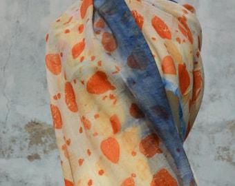 Wool scarf, ecoprint, eucalyptus, blue, scarf, Orange, hand-made from the FilzHaus16