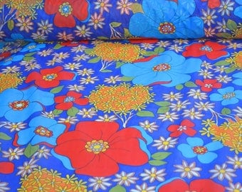 Blue fabric, blue flowers Floral printed Polyester Fabric navy blue fabric by the yard retro