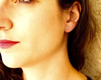 Small minimalist earrings 925 Silver bar