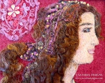 Felt art, Renaissance lady, needle felt picture, fiber wall art, wool painting, gift for her, felt wall art, italy wall decor, original art