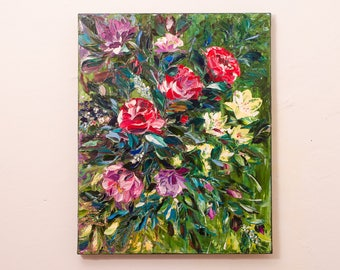 Floral painting abstract flower art roses wall decor original palette knife painting red roses art flower bouquet painting green red picture