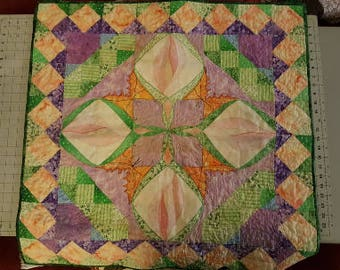 """OOAK Art Quilt -- Lilies 36"""" X 36"""""""