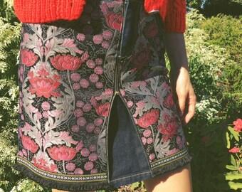 Denim skirt | Upcycled | Embellished | Boho inspired | Dark wash