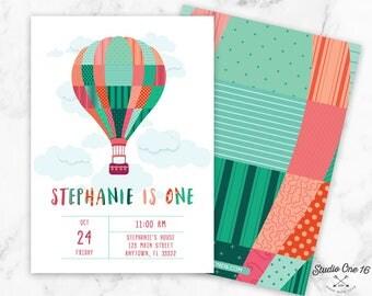 Hot Air Ballon Invitation, Hot Air Ballon Birthday Party Invitation, Hot Air Ballon Birthday Invite, Hot Air Ballon Invite, Hot Air Ballon