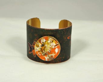 Brass Cuff Bracelet with Starfish and Orange Fused Glass Jewel