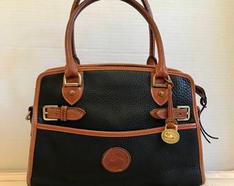 DOONEY & BOURKE Vintage AWL Pebbled Leather Handbag // Satchel // Top Handle // Black And Tan Leather