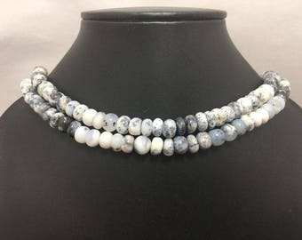 Natural Dendrite Opal AAA Quality Smooth Rondelle Beads With Clasp, 8mm to 8.5mm, 18 inches. Gemstone Beads, Semiprecious Beads