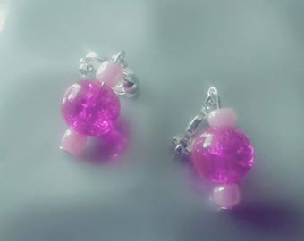 Pink and purple earings