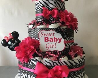 Pink Zebra Polka Dot Diaper Cake