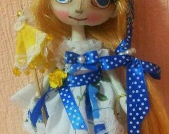 Interior textile handmade doll.Height 20cm .