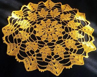 New yellow crochet doily