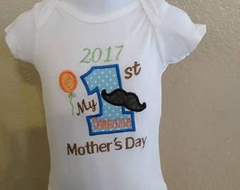 1st Mothers day baby boy onesie