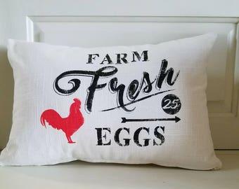"""Farmhouse Pillow Cover -""""Farm Fresh Eggs"""""""