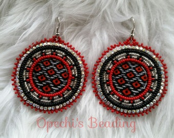 Red Diamond, Native American beaded earrings