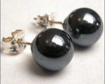 Hematite 8mm Round Studs Earrings - Sterling Silver