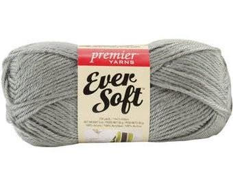 Ever Soft Yarn, Grey Yarn, Knitting Yarn, Crotcheting Yarn, Light Weight Worsted Yarn