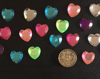 20 self adhesive heart gems