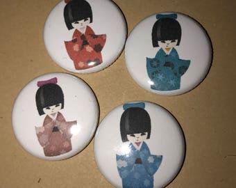 Kokeshi Doll Pins