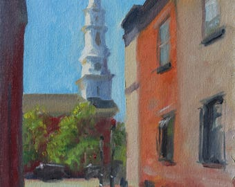 14x11 Original Oil Painting Portsmouth, NH Old North Church New England Landscape Colonial Architecture Colonial Church Building Painting