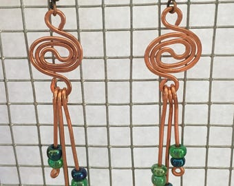 Handmade copper wire with blue and green bead earrings
