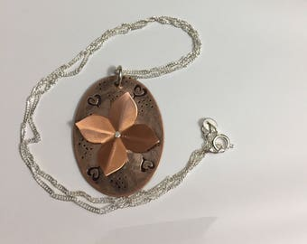 Copper hand stamped & riveted necklace