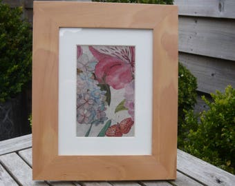 Botanical print fabric in mounted beech frame, free standing or can be hung