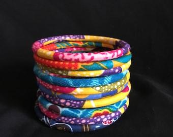 Bracelets in wax multicolor (set of 10)