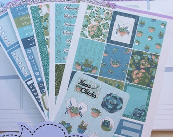 Erin Condren Vertical weekly kit planner stickers - Hens and Chicks - succulents