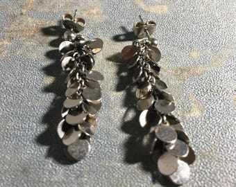 Vintage Silver-tone Disk Dangle Earrings