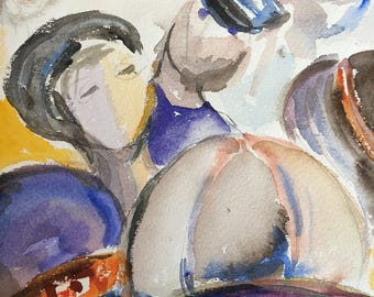Abstract watercolor painting, people,