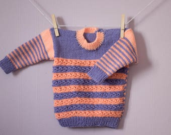 Adorable Baby Jumper, Hand Knitted by Nanny, Pink & Purple Stripy with Flower Buttons.