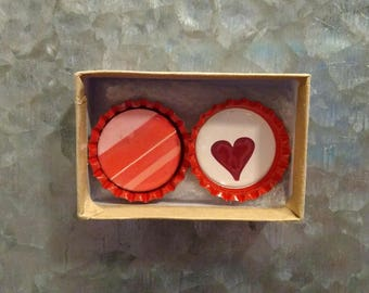 2 Red Bottlecap Magnets