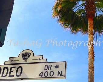 Beverly Hills Rodeo Drive Sign and Palm Tree Photography Print or Canvas