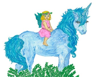 Ltd Edition - Square Canvas Print - Original Artwork - Fairy & Unicorn