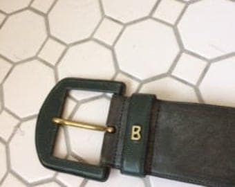 Green Leather Bogner Belt