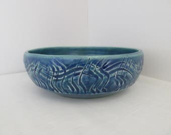 FREE SHIPPING Hand Thrown Textured Teal Bowl