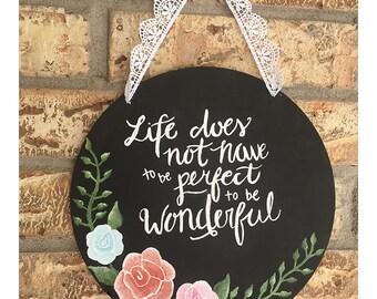 Wonderful Life Hanging Sign | 10 in diameter | Metal Hanging Sign | Inside/Outside Sign | Hanging Wall Art/Decor | Custom Signs
