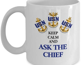 Keep Calm and Ask The Chief Ceramic Coffee Mug